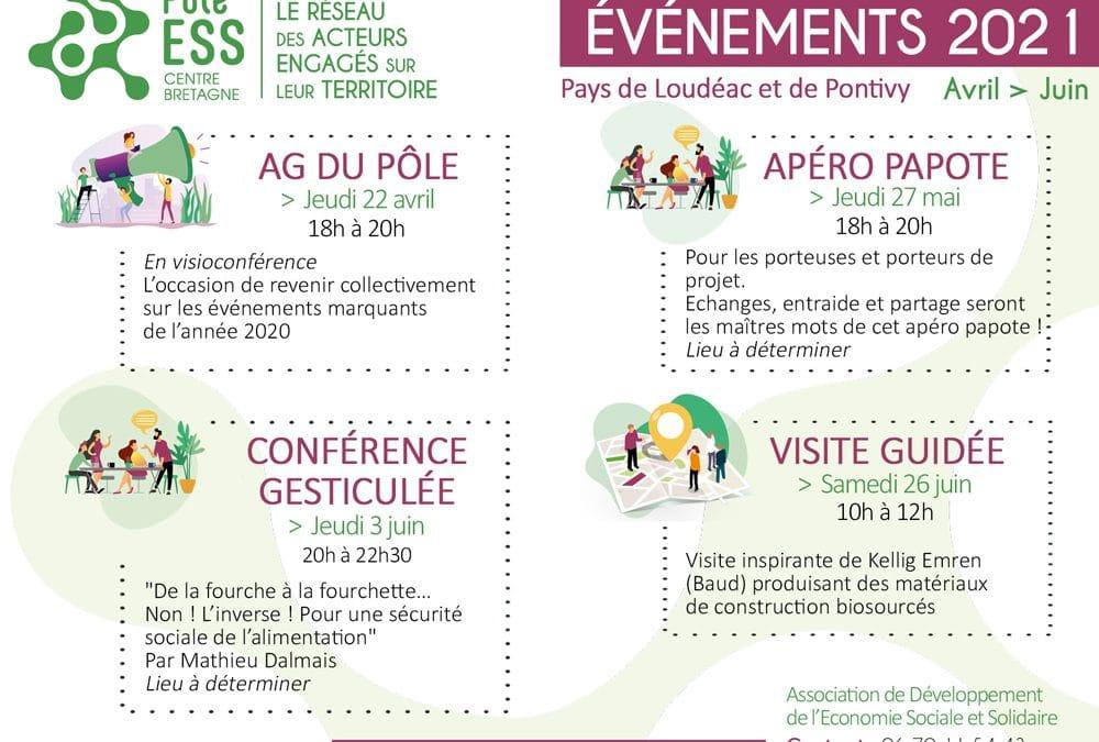 Calendrier des événements du Pôle – 1er semestre 2021